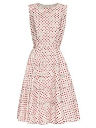 Oscar De La Renta Polka Dot Print Floral Devore A Line Dress White Multi