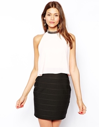 Lipsy Embellished High Neck Bodycon Dress With Crop Overlay Pinkblack