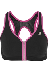 Shock Absorber Active Zipped Plunge Stretch Jersey And Mesh Sports Bra