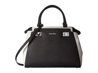 Calvin Klein Toya Saffiano Satchel Black White Satchel Handbags