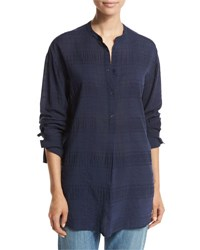 Vince Tonal Stripe Half Placket Tunic Blue