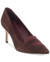 Nine West Molina Pointed Toe Pumps Women's Shoes Dark Brown Wine Suede