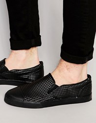 Asos Slip On Plimsolls In Black Pyramid With Toe Cap Black