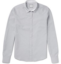 Wooyoungmi Slim Fit Contrast Trimmed Striped Cotton Shirt White