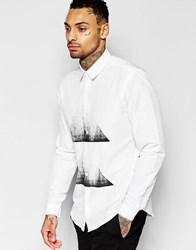 Asos White Shirt With Triangle Chest Print In Regular Fit White