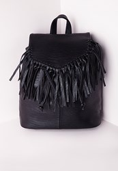 Missguided Tassel Trim Classic Backpack Black Black