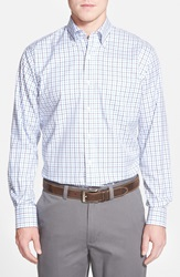 Peter Millar 'Nanoluxe' Regular Fit Wrinkle Free Tattersall Twill Sport Shirt Patriot Navy