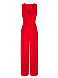 Yumi Wide Leg V Neck Jumpsuit Red