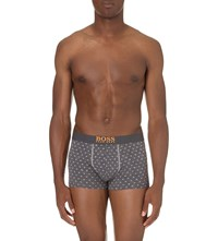 Hugo Boss Diamond Print Stretch Cotton Trunks Grey Yllw