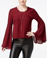 Material Girl Juniors' Bell Sleeve Lattice Back Top Only At Macy's Zinfandel