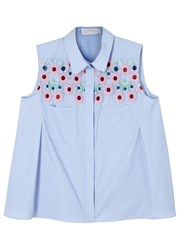 Peter Pilotto Light Blue Macrame Sleeveless Cotton Shirt