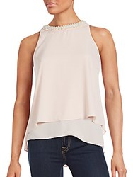 Saks Fifth Avenue Red Pearl Trimmed Layered Hem Tank Top Blush
