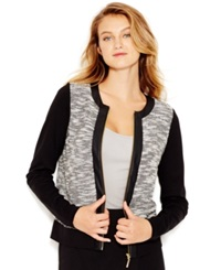 Kensie Contrast Pleather Detail Bomber Jacket Ivory Combo