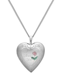 Macy's I Love Your Heart Locket Necklace In Sterling Silver