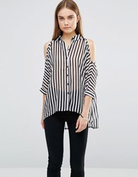 Ax Paris Striped Cut Out Shoulder Shirt Black White