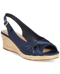 Bella Vita Sangria Too Espadrille Platform Wedge Sandals Women's Shoes Navy Silk