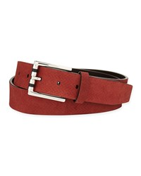 Ermenegildo Zegna Hamptons Zigzag Pattern Belt Burgundy Red