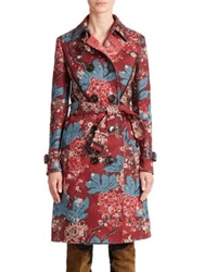 Burberry Floral Patchwork Trenchcoat Carmine Red