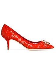 Dolce And Gabbana Floral Lace Embellished Pumps Red