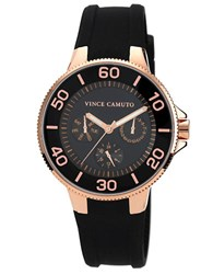 Vince Camuto Ladies Rose Gold Tone And Black Silicon Strap Watch