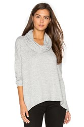 Heather Basket Jacquard Cowl Neck Pullover Gray