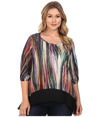 Karen Kane Plus Size Modern Art Sheer Hem Top Print Women's Blouse Multi