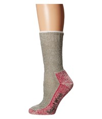 Smartwool Mountaineering Extra Heavy Crew Taupe Bright Pink Women's Crew Cut Socks Shoes Gray