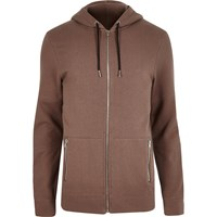 River Island Mensbrown Zip Up Pocket Hoodie