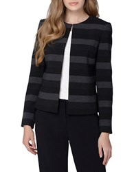 Tahari By Arthur S. Levine Plus Striped Jewelneck Long Sleeve Jacket Set Black Grey