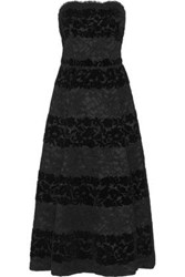 Dolce And Gabbana Strapless Devore Velvet Lace Midi Dress Black