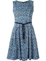 Woolrich Printed Flared Dress Blue