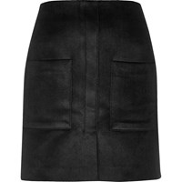 River Island Womens Black Velvet Pocket Mini Skirt