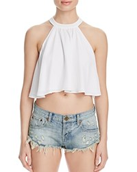 Show Me Your Mumu Mateo Tie Back Crop Top White Crisp