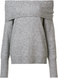 Yigal Azrouel Off Shoulder Knit Blouse Grey
