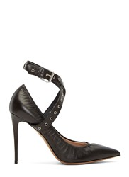 Valentino Eyelet Strap Heeled Pumps Black