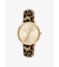 Jaryn Gold Tone And Leopard Calf Hair Watch
