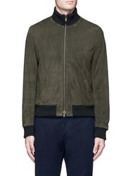 Lardini Sheepskin Suede Bomber Jacket Green