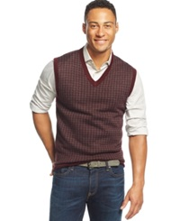 Club Room Merino Houndstooth Vest Only At Macy's Red Plum Cbo