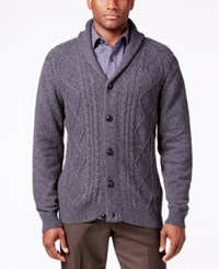 Tricots St Raphael St. Men's Cable Knit Shawl Collar Cardigan Slate Heather