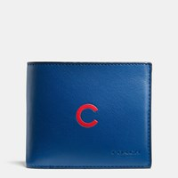 Coach Mlb Compact Id Wallet In Sport Calf Leather Chi Cubs