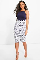 Boohoo Eli Crochet Lace Midi Bodycon Dress Navy