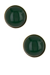 Yochi Design Jade Button Earrings Green