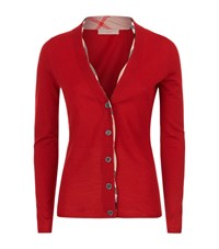 Burberry Check Trim Cardigan Female Red