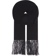The Kooples Wool Cashmere Scarf Black White