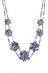 Savvy Cie Tanzanite Flower Bib Necklace Purple