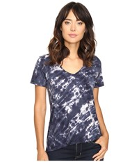The Beginning Of Olivia V Neck High Low Tee Indigo 1 Women's Short Sleeve Pullover Navy