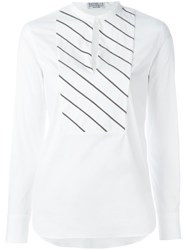 Brunello Cucinelli Striped Bib Blouse White