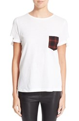 Helmut Lang Women's Plaid Pocket Slash Tee