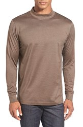 Men's Bugatchi Long Sleeve Mock Neck T Shirt Mocha