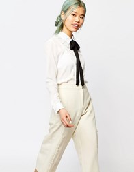 Zacro Long Sleeve Blouse With Frill Collar And Ribbon Neck Tie White